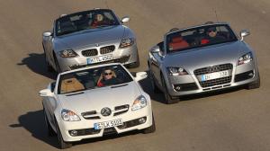 Audi-TT-Mercedes-Benz-SLK-BMW-Z4-German-luxury-roadsters-second-generations