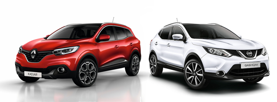 European-sales-midsized_SUV_segment-Nissan_Qashqai-Renault_Kadjar