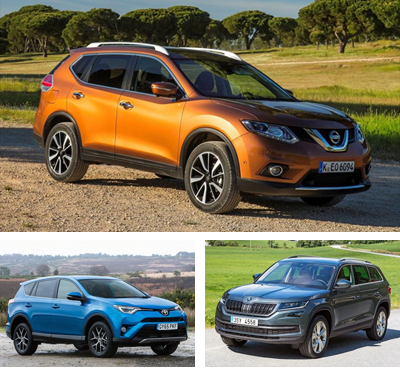 Midsized-crossover-segment-European-sales-2017-Q3-Nissan_X_Trail-Toyota_RAV4-Skoda_Kodiaq