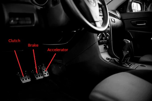 Various pedals in a manual vehicle