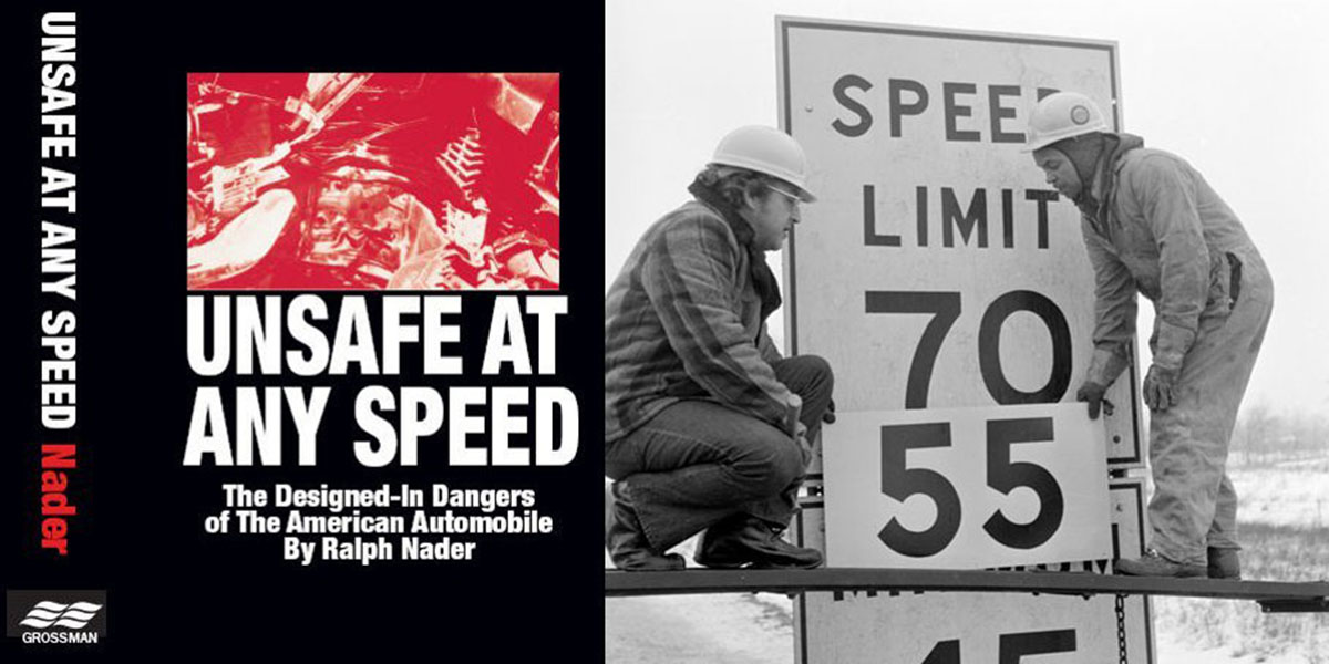 Unsafe at any speed book & vintage speed limit photo